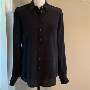 JOE FRESH BLACK LONG SLEEVE BUTTON DOWN BLOUSE